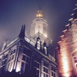 A Gothic feel as fog envelops the beautiful tower.