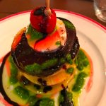 Goat cheese red and yellow beets and green apple tower w balsamic reduction