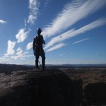 Hawk against cloud, to right of Warren statue at Little Round Top