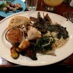 Taste of Jamaica: jerk pork, jerk chicken, beef empanada, callaloo, sweet plantains, rice and be