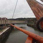 through the swing bridge