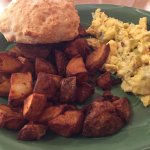 eggs scrambled with cheese and green chiles and biscuits