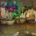 The colorful cave with a shallow pond (on the grounds of China Stone Museum)