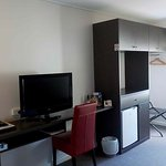 TV, kitchenette, storage
