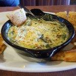 Parmesen Spinach Artichoke Dip with breadsticks