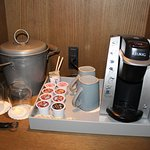 Keurig in room with tea and coffees