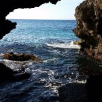 Looking out at the ocean from the caves below ground.