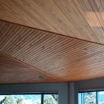 A photo of the Eucalyptus ceiling above the Lounge, a tree which they grew themselves!
