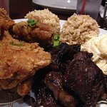 Alley Mix Plate - boneless Kalbi ribs, fried chicken, brown rice, macaroni salad