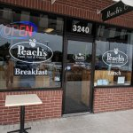 Cozy booths & tables with convenient plaza parking at Peach's