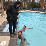 The temperature was a crisp 38 but the outdoor heated pool was a hit for the adventurous
