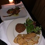 Bacon wrapped pork chops and Steak Tartar