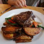 A juicy rib eye steak