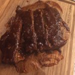 Ribs with bourbon sauce very tasty and rosemary with sea salt garlic bread just enhance the flav