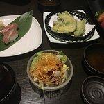 vegetabler tempura, tuna nigiri, salmon & tuna sashimi, miso soup