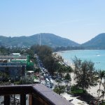 "View from verandah near breakfast restaurant looking over Patong Bay and down ""beach road"" Paton"