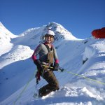 Rappelling on the crevasse rescue course