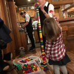 big boxes of legos at the entry to keep kids occupied