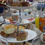 Yummy cakes, scones and sandwichs