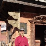 In front of one of the temples in the complex