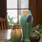 Bowing Pine Cabinet Vase, California Blooming Vase & Frog's Life