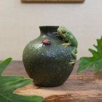 Frog's Life Vase with Ladybug