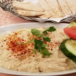 Hummus. Lumppier than I'm use to but good.
