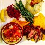 Surf-n-Turf Special w/ lobster, filet & root vegetables.