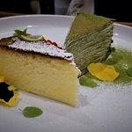 Cheesecake and matcha tea crepe cake for dessert