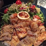Seafood Don - €18.90: scallop, salmon, tuna, shrimp and salad on rice with sesame dressing.