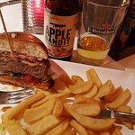 Flame burger & Apple cider