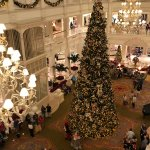 View from our floor of main lobby-Christmas tree with Victorian Mickey & Minnie