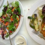 Chicken Milanese, vegetables and a super salad