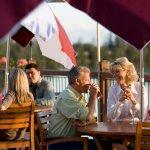 Deck dining at Fairbanks Princess Riverside Lodge