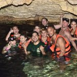 Our group in the Cenote with our tour guide Fernando.
