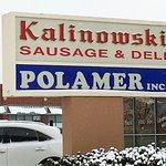 sign along Rand Rd. for Kalinowski Sausage & Deli