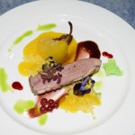 Duck breast with poached pear