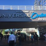 Walking to entrance of Universal