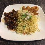 Chicken Chow Mein, Honey Garlic Boneless Spareribs, & Prawns