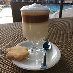 A delicious latte from the snack bar by the pool prepared by Ronald C.