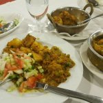 Mixed Vegetable Curry with Bombay Potatoes and Cucumber Kachumber