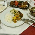 Vegetable Sashlick with Plain rice and Bombay Potatoes