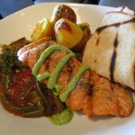 Grilled Salmon with Roasted Potatoes and Stewed Green Beans