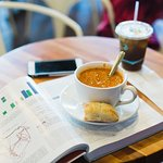 Cup of soup and coffee--Perfect for a study break!