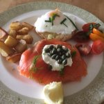 Smoked salmon with local cream cheese from Fox Hills