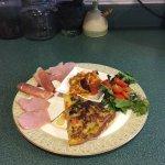 Spanish omelet with ham & avocado salsa