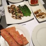Patatas bravas, asparagus, mushrooms, breads with mashed tomatoes and olive oil