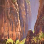 """Riverwalk-Temple of Sinewava"" by Mary Jabens shows spectacular morning light deep in Zion Canyo"