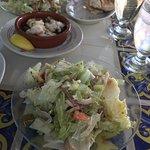 Shrimp tapas and a split salad - crazy big!