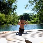 Cooling off at the infinity pool with river view after game drive